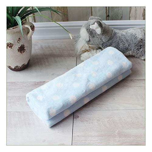 Dog Blanket Pet Blanket Soft Pet Blanket Warm Dog Cat Mat Fleece Pet Puppy Blanket Towel Small Medium Large Dogs Cats Sleeping Sofa Cover Pet Supplies (Color : Blue dot-70X50CM)