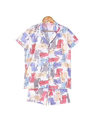 LC WAIKIKI Damen Katzen bedrucktes Baumwoll-Pyjama-Set