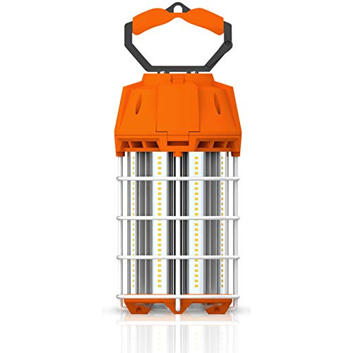 Laborate Lighting Commercial Construction Lighting, 100W LED, Temporary Hanging Work Light, Retractable Handle, 12000 Lumens, 5000K