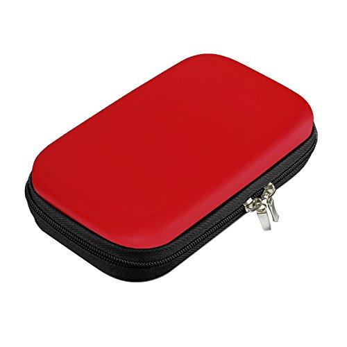 Bapack Funda Disco Duro Externo 2,5', Escuche para Cables Impermeable Bolsa de Cable Multifucional para Viaje Cables USB Power Bank Auriculares Tarjeta de Memoria (Rojo)