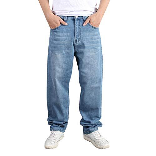 Suelto Vaqueros Hombre, Moda Talla Grande Hip Hop Mezclilla Pantalones Casual Baggy Rectos Pantalones Corte Ajustado Tejanos Anchos PantalóN Straight Jeans