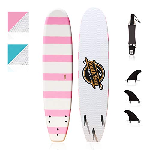 Basic Beginner Soft-Top Foam Surfboards for Kids, Teenagers, and Lightweight Adults-8' Guppy Pink-with 3 Rounded-Edge Soft-Top Surfboard Fins (Thruster Set) & Fin Screws, 8' Leash, EZ Carry Handle