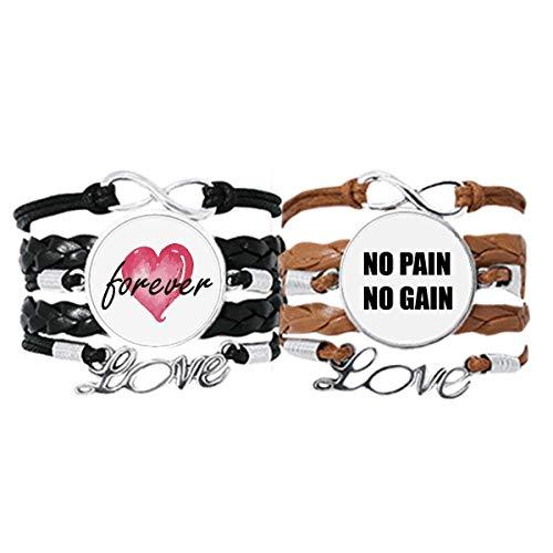 Bestchong No Pain No Gain Cita Negro Fomentar Positive Pulsera Correa de mano Cuerda de cuero Forever Love Pulsera doble Set