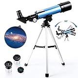PEALOV Telescopio Refractor AstronóMico con TríPode Ligero -Telescopio para NiñOs 50 Mm De Apertura Y 360 Mm 2 Opciones Ocular Telescopio AstronóMico Ocular AcromáTico para NiñOs
