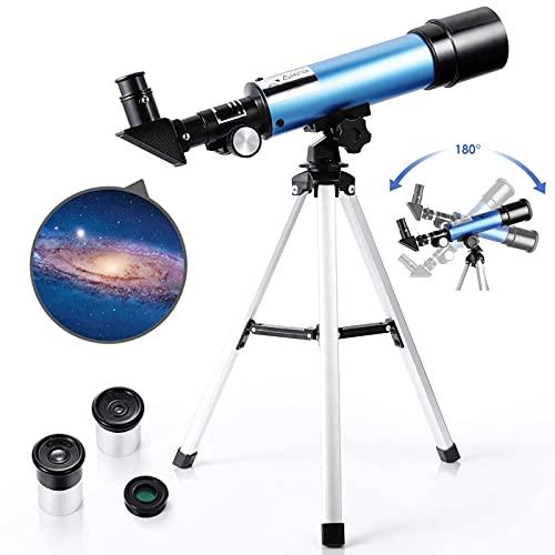 PEALOV Telescopio Astronomico Con Treppiedi Leggero, 2 Opzioni Oculare, Telescopio Astronomico Achromat Oculare, Telescopio Rifrangente Per Principianti Dilettanti Bambini E Bambini