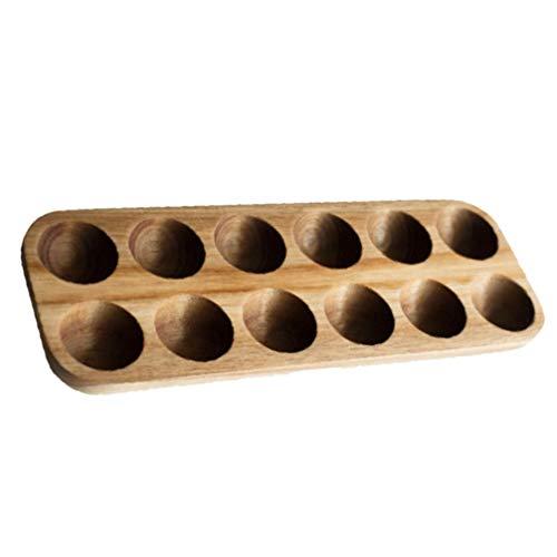 OSALADI Holz Eierhalter Holz Eierablage 12 Löcher Eierplatte Gefrierschrank Tischplatte Display Oder Kühlschrank Lagerung Teuflische Eierablage Eierhalter Holz Eier Skelter