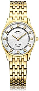 Rotary | Women's Ultra Slim Gold PVD Plated | Mother Of Pearl Dial LB08303/41/D