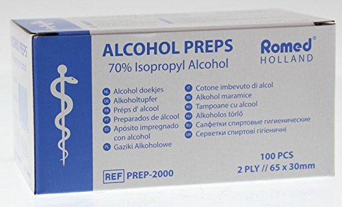 Tamponi Alcool 2-ply 65 x 30 mm Tampone Alcol 100 Pezzi
