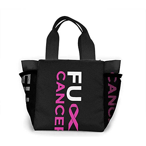 Lunchpaket Fuck Breast Cancer Pink Ribbon Lunchpaket Einkaufstasche Wiederverwendbare Einkaufstasche Große Kapazität Camping-Tasche