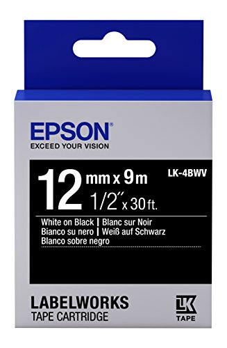 """Epson LabelWorks Standard LK (Replaces LC) Tape Cartridge ~1/2"""" White on Black (LK-4BWV) - for use with LabelWorks LW-300, LW-400, LW-600P and LW-700 Label Printers"""