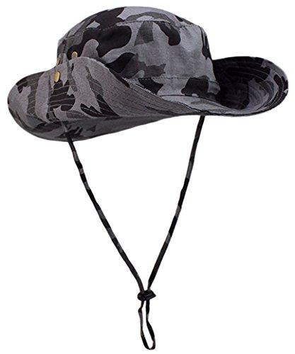 FEOYA Chapeau Fisherman Boonie Hat Bobs Randonnée Chapeau de Soleil Brousse Plage Anti-UV Solaire pour Femme Homme Voyager Pêche Chapeau Australien à Large Bord Militaire Camouflage Gris