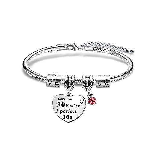 JIYAOANDX 30th Birthday Bracelets Snake Chain Bangle Friends Sisters Aunt Lucky Birthstone Charm Women Jewerly Gift for 30s
