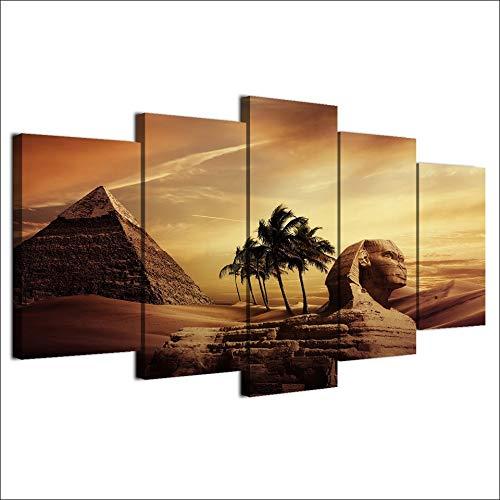 Sala modular de pared Decoracion cuadros poster 5 piezas pirámides Egipto androsphinx puesta de sol paisajes fotos Art HD grabados