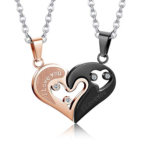 Jstyle Stainless Steel Mens Womens Couple Necklace Friendship Puzzle CZ Love Matching Heart Pendants Black&Rose-Gold