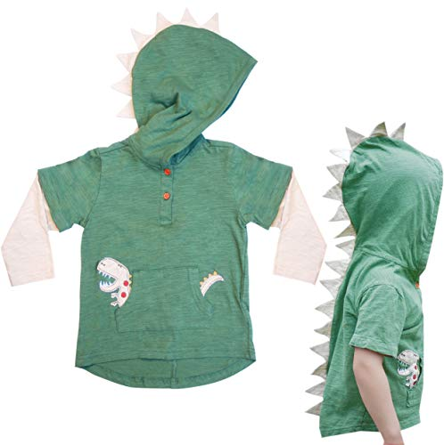 T-Rex Dinosaur Toddler Hoodie with Removable Sleeves (4T, Green)