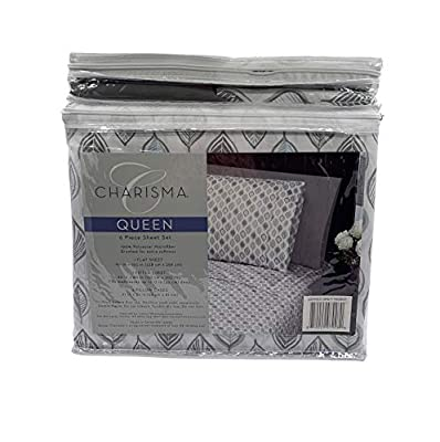 CMA Charisma Microfiber 6-Pc Queen Sheet Set Extra Deep - Grey Leaves