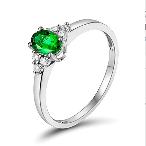 Aartoil 18K White Gold Wedding Bands for Women classic elegant Ring (Tsavorite: 0.4ct/1pcs) Size J 1/2