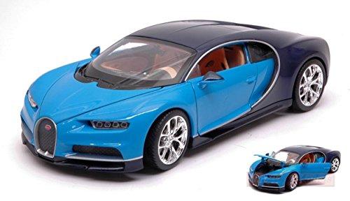 Welly MODELLINO in Scala Compatibile con Bugatti CHIRON Light Blue/Dark Blue 1:24 WE24077BL