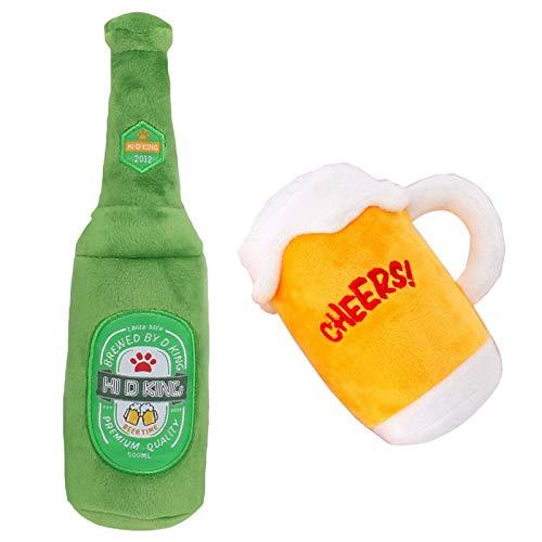 Chillón Felpa Juguete Para Perro Botella Cerveza Vaso Cerveza Chirriante Apaciguar Herramienta Entrenamiento Relajante Juego Muñecas Soft Soda Safe Para Perros Grandes A Pequeños Mascotas 2 Pa