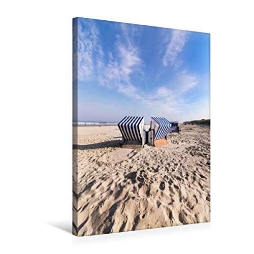 Premium Textil-Leinwand 50 x 75 cm Hoch-Format Strandkörbe am Nordstrand | Wandbild, HD-Bild auf Keilrahmen, Fertigbild auf hochwertigem Vlies, Leinwanddruck von Andrea Dreegmeyer