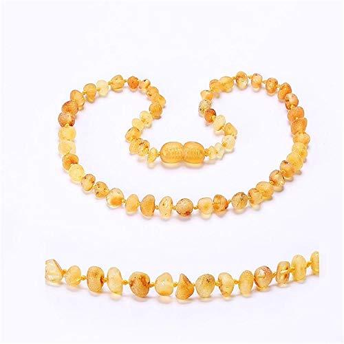 JFFM Collana Collana/braccialetto con denti in ambra Genuine Lab Tested-7 dimensioni-10 colori 35 cm 14 pollici grande limone crudo