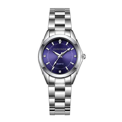 Mujer Relojes, L'ananas Clásico Elegante Diamante de imitación Acero Inoxidable Correa de Reloj Cuarzo Relojes de Pulsera Women Watches Wristwatches (Plata+Azul)