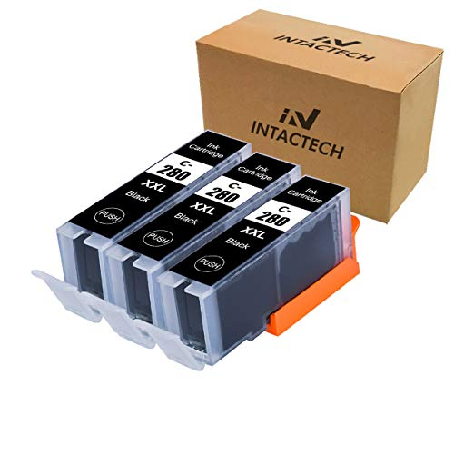 Intactech Compatible Ink Cartridges Replacement for Canon PGI-280XXL PGBK PGI-280 XXL Black Ink Tank 3 Pack(3 Black PGI 280xxl) Work with Pixma TS6120 TS8120 TR7520 TR8520 TS9120 TS6220 TS8220 TS9520