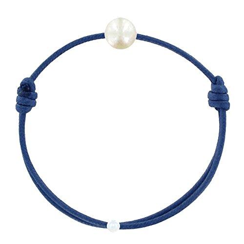 Schmuck Les Poulettes - Kinder-Armband - My First Pearl gewachste Schnur Armband - White Süßwasser Zuchtperlen 6-7 mm - Colors - Blau Jean