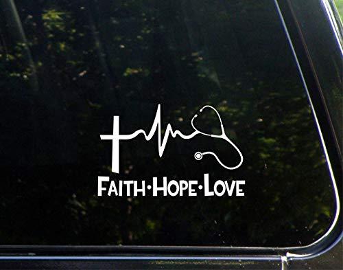 Diamond Graphics Faith Hope Love Stethescope (6' X 3-3/4') Die Cut Decal Bumper Sticker for Windows, Cars, Trucks, Laptops