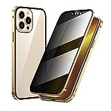 AWJK Caso para iPhone 13 Pro, Parachoques De Metal De Adsorción Magnética con Funda Protectora De Cuerpo Completo Y Trasera De 360 Grados De 360 Grados para iPhone 13 Pro 6.1',Oro