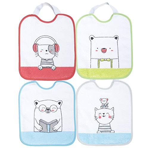 Ti TIN -4er-Pack- wasserdichte Babylätzchen, 23x28 cm | Lätzchen mit elastischem Verschluss für Babys von 6-18 Monaten Jahren, 73% Baumwolle-27% Polyester-Vinyl-Futter, verschiedene Tier-Motive/Farben