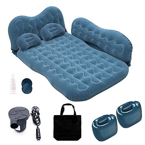 Inflatable Car Air Mattress for Camping, Travel, Portable SUV Back Seat Bed with Pump, Pillows, Car Sleeping Pad for Truck, Vacation, Blow-Up Flitaing Bed, Floating Bed, Thickened Flocking(Blue)