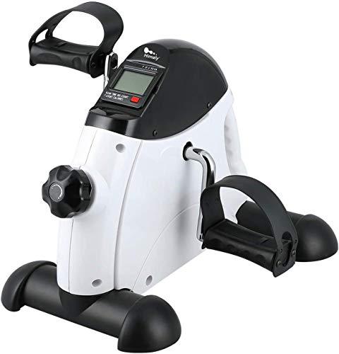 himaly Mini Bicicleta Estática con Pantalla LCD para Entrenamiento de Brazos y Piernas Minibicicleta Ajustable para Hacer Ejercicio en Casa para Mujer y Hombre,Pedales Estaticos(Blanco)