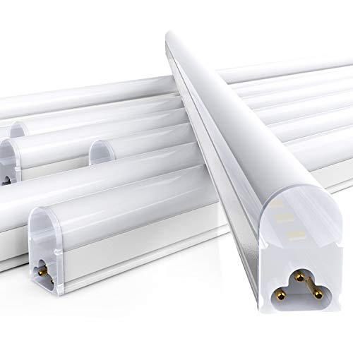 Freelicht 6 Pack LED T5 Integrated Single Fixture, 4FT, 2200lm, 6000K Daylight Deluxe, 20W, Linkable Utility Shop Light, Ceiling and Under Cabinet Light, Corded Electric with Built-in ON/Off Switch