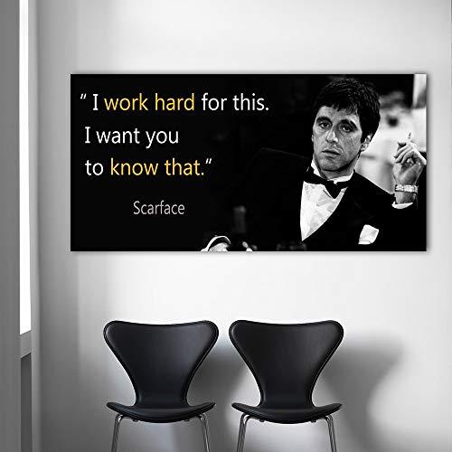 XWArtpic Leinwand Malerei Scarface Zitate Poster Außergewöhnliche Wand Kunstdruck Tony Montana Porträt Wandbild für Wohnzimmer 50 * 100 cm