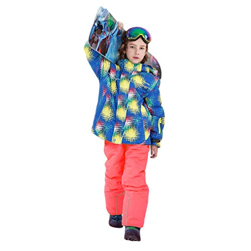 Lvguang Kinder Mountain Jacke Outdoor Funktion Wasserdicht Winddicht Kapuze Atmungsaktiv Ski Sportswear & Ski Pants (Pink Orange#2, Asia L)