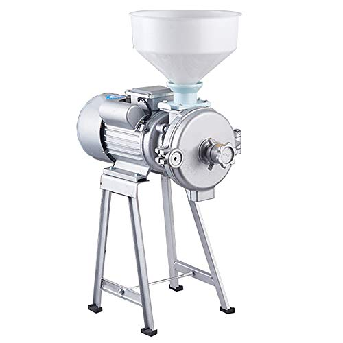 Electric Grain Mill Grinder, 110V Commercial Grain Grinder Machine Feed Grain Rice Corn Grinder with Funnel (Wet and Dry Grinder 2200W)