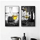 juou Affiches Et Estampes Vin Jaune Verre à Vin Transparent Fond Noir Peintures sur Toile Décor À La Maison Photos Chambre 15,7'x 21,7' (40x55cm) x2 sans Cadre