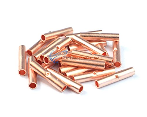 Install Bay 8 GA AWG Copper Crimp Butt Connectors Battery Wire Cable 25 Pieces