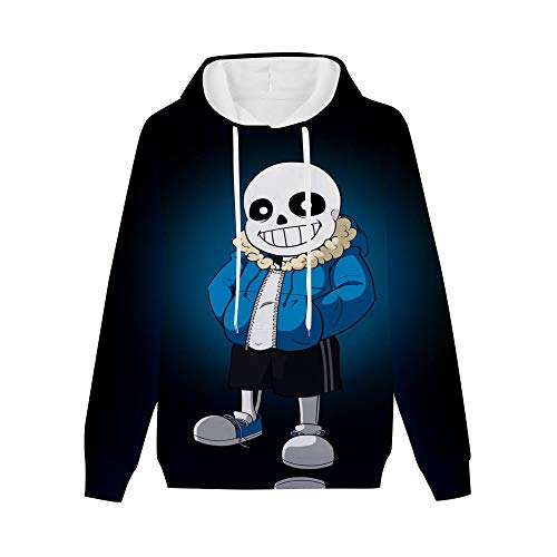 Unisex 3D Un-dertale Sans Hoodie, Soft Pullover Hooded Sweatshirt for Mens,Womens S