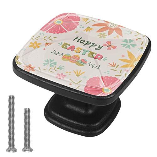 (4 piezas) pomos de cajón para cajones, tiradores de cristal para gabinete con tornillos para armario, hogar, oficina, armario, linda Pascua floral