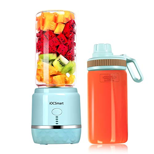 iOCSmart Portable Personal Size Blender, USB Rechargeable Mini Juicer Blender for Fruits Smoothie Shakes Baby Food with 2 Juicer Cup Glass, 4000mAh High Capacity Batteries (Blue)
