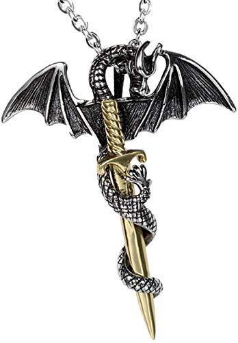 NC110 Collar con Colgante de Espada de dragón Vintage, Colgante de Acero de Titanio, joyería de Espada de dragón de Moda Coreana Retro para Hombre, Biliss YUAHJIGE