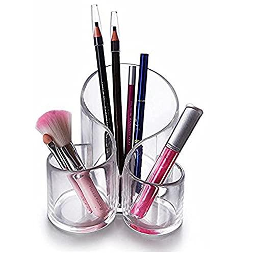 CINEEN Make Up Aufbewahrung aus Acryl - Kosmetik Organizer Pinselset Halter Stifthalter Kunststoff Becher für Schminke und Makeup