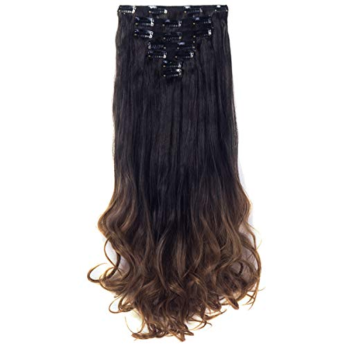 3-5 Days Delivery 7Pcs 16 Clips 24 Inch Wavy Curly Clip in on Double Weft Hair Extensions (Dark Brown Hair With Blonde Highlights On Top)