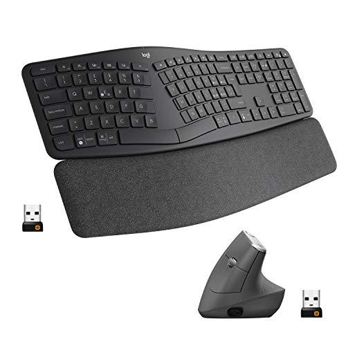 Logitech MX Mouse Verticale Wireless Ergonomico + Tastiera split wireless ergonomica Logitech ERGO K860 con supporto per i polsi