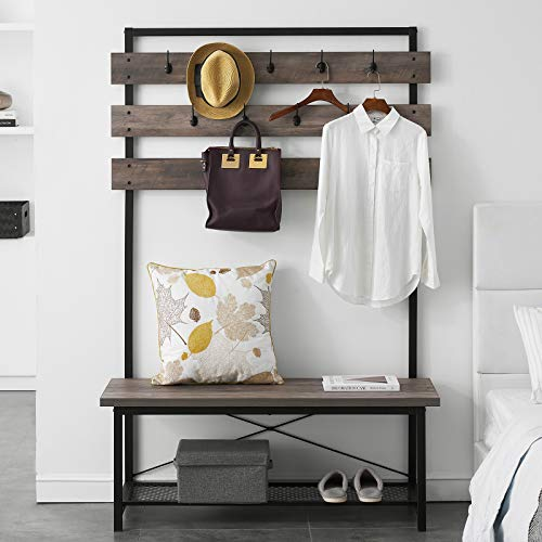 FELLYTN Farmhouse Hall Tree for Entryway, Wood and Metal Coat Rack with Shoe Bench, Storage Shelf Organizer, Accent Furniture with Metal Frame, Vintage Gray 71 Inch