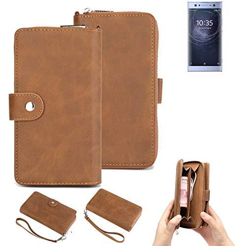 K-S-Trade 2in1 Handyhülle Für Sony Xperia XA2 Ultra Dual-SIM Schutzhülle und Portemonnee Schutzhülle Tasche Handytasche Hülle Etui Geldbörse Wallet Bookstyle Hülle Braun (1x)