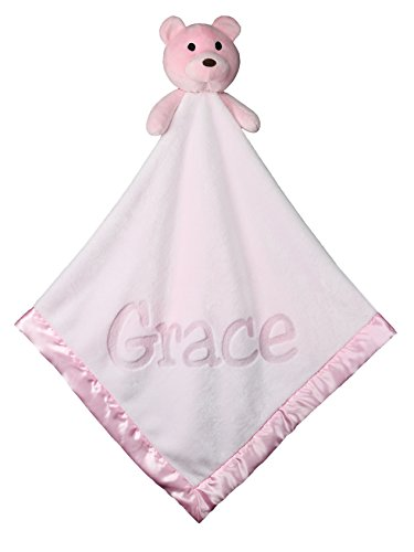Custom Catch Personalized Teddy Bear Baby Blanket Gift for Girl - Pink