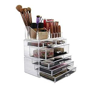 Organizador de maquillaje acrílico de 6 compartimento| Almacenamiento de cosmético transparente | Porta maquillaje grande | Organizador para paletas |Pukkr